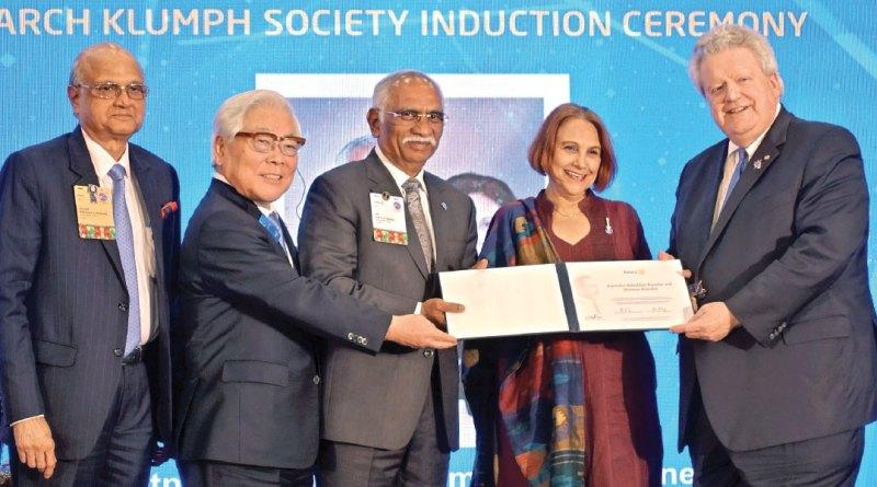 PDG (D 3232) J B Kamdar and Marlene being honoured by RI President Mark Maloney, TRF Trustees Seiji Kita and Gulam Vahanvaty.