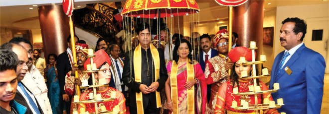 RIDN A S Venkatesh and wife Vinita being given a grand welcome.