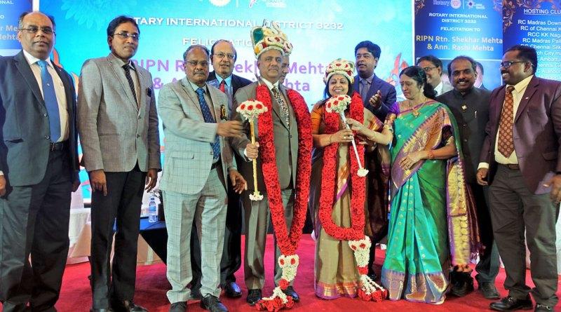 From L: DG G Chandramohan and his wife Manjula felicitating RIPN Shekhar Mehta and Rashi in the presence of (from L) PDG ISAK Nazar, DGE S Muthupalaniappan, PRID P T Prabhakar, RIDN A S Venkatesh, DGN J Sridhar, AG Balasubramanian and Club Service Director Dr Shankaran.