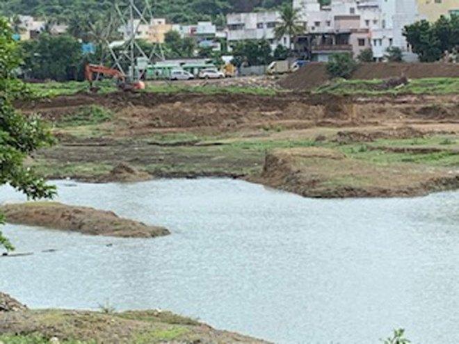 Puduthangal Lake being restored.