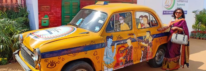 Calcutta's yellow cab, one of the hot selfie spots at the HOF.