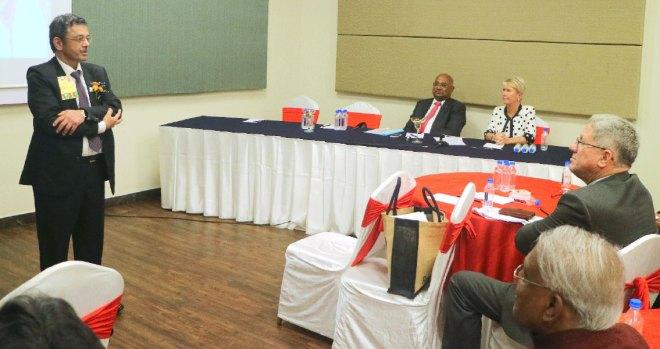RID Bharat Pandya at the Regional Leaders Seminar. Also seen are PRID C Basker and Trustee Jennifer Jones.