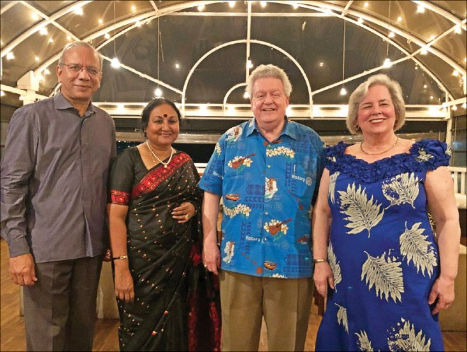 (From L) TRF Trustee Chair Elect KR Ravindran, Vanathy, President Maloney and Gay.