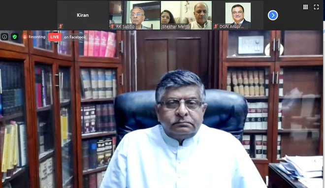 Union Information and Technology Minister Ravi Shankar Prasad in a Zoom meeting with Rotarians.