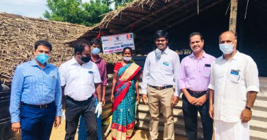 RC Coimbatore Meridian President M Sathish Kumar (right) along with club members at the tribal village.