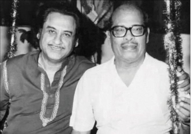 Kishore Kumar with Manna Dey.