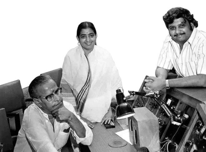 From left: KV Mahadevan, P Susheela and SPB.