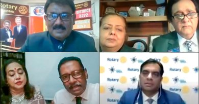 Clockwise from top left: DG Tazeem Ahmad, RID 3272, PDG Mir Arif Ali, IPDG Sameer Hariani, RID 3190 and Rtn Ravishankar Dakoju and his wife Paola.