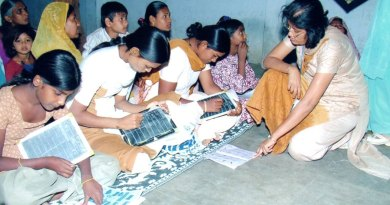 An adult literacy class being conducted by RC Mandvi.