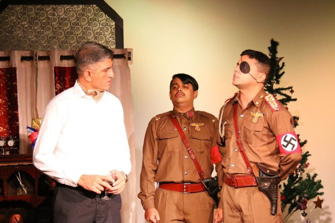 Rotarians performing Emil's Enemies, a play on Dietrich Bonhoeffer and the last assassination attempt on Hitler.