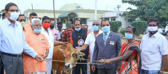 Namakkal district collector K Megraj hands over a cow to a beneficiary. Project co-chairman K Kandasamy (2nd from L) and primary contact S Balaji (3rd from right) are also in the picture.