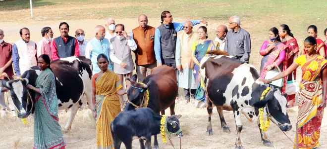 PDGs P Narayana, BN Ramesh, DG B Rajarama Bhat (in brown coat), and RC Shimoga president Suneetha Sreedhar at an event to donate cows to the beneficiaries.