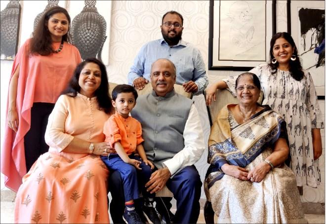 (From left) Daughter-in-law Geeta, Rashi, grandson Veer, Shekhar Mehta, son Chirag, mother Vallabh Kumari and daughter Chandni.