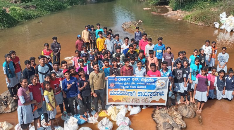 Rotaractors, Interactors and RCC members pitch in with Rotarians for building check dams in Belthangady.