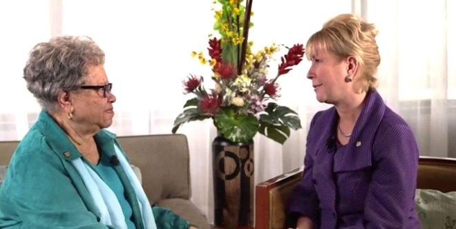 RIPN Jennifer Jones (R) in conversation with PDG Sylvia Whitlock from RC Duarte, California, US.