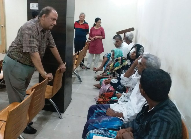 Meeting patients at an eye hospital founded by RC Calcutta Mahanagar