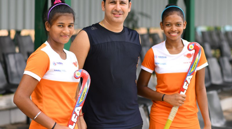 Rotary Hockey Academy founder-coach Jatinder K Sharma with Kamla Singh (left) and Mary Condorlna.