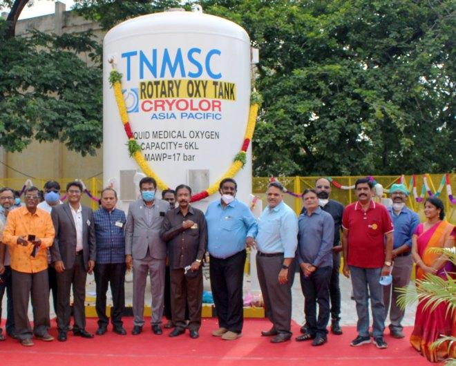 From L: Rtns V Gupta, Arun, club president Dr C Sugavanam, DG K Sundaralingam, S K Ramachandran, PDG K S Venkatesan, Hitesh, Rajesh, Manoj Sharma, Bala, Dr Saravanan and Sasikala Sugavanam.