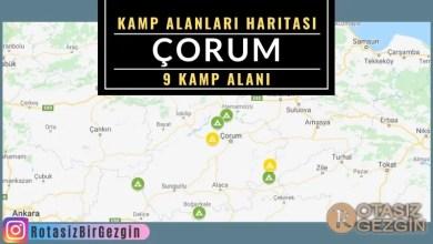 Çorum Ücretli ve Ücretsiz Kamp Alanları Haritası