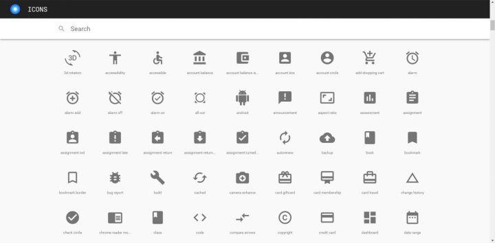 Interface de Icons