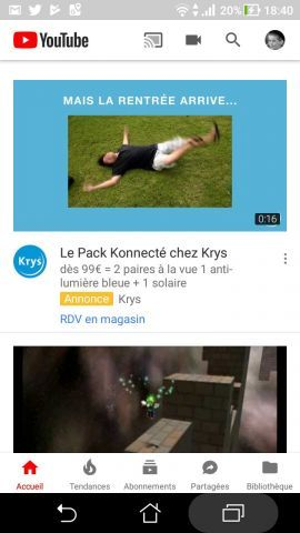 Nouveau style de l'application YouTube