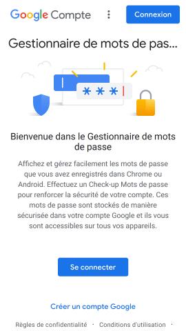 Page d'accueil Google Passwords