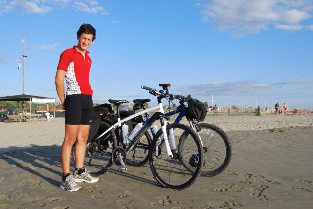 Ronan and bikes on beach