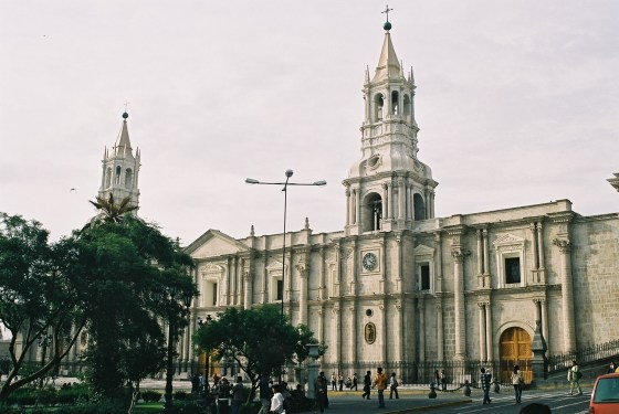Arequipa's main cathedral is located on the the Plaza de Armas