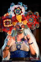 Best Costume Winner Amber Allison on stage at Dia De Los Muertos - Shamanic Visions of the Huichol