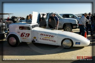 "Lattin & Stevens' ""White Lightning"" at the starting line at SCTA - Southern California Timing Association's Land Speed Races at El Mirage Dry Lake"