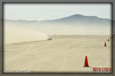 Rider Derek McLeish of Team McLeish Bros. on his 172.374 mph run at SCTA - Southern California Timing Association's Land Speed Races at El Mirage Dry Lake