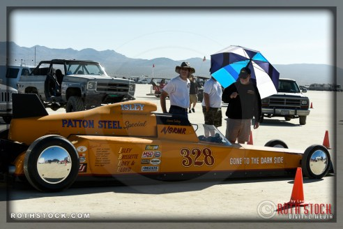 Driver David Isley of Isley Racing prepares for his 223.381 mph run at SCTA - Southern California Timing Association's Land Speed Races at El Mirage Dry Lake