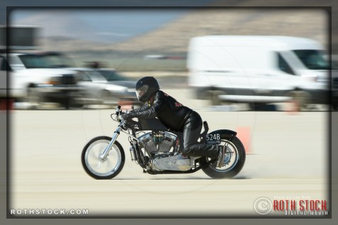 Rider Steve Bilock of Steve Bilock Racing on his 165.392 mph run at SCTA - Southern California Timing Association's Land Speed Races at El Mirage Dry Lake