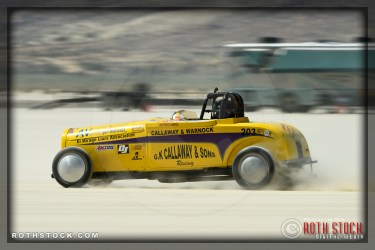 Driver Mark Van Buskirk of Burns Callaway Warnock on his 145.777 mph run at SCTA - Southern California Timing Association's Land Speed Races at El Mirage Dry Lake