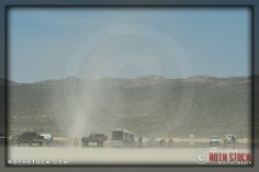 Dust devil in race camp at SCTA - Southern California Timing Association's Land Speed Races at El Mirage Dry Lake