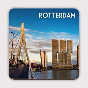 Onderzetter met de skyline van Rotterdam