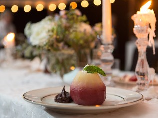Make an impact with our stylish Signature Bosc Pear, Poached in Red Wine and Port, Hollow and Filled with Chantilly Cream. ---Photo credit to Laura's Focus Photography.