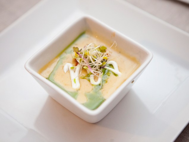 Enjoy unique catering options like our Sweet Corn Bisque with Fire Roasted Peppers, Basil Oil & Pea Tendrils Photo courtesy of Ann-Marie VanTassell Photography