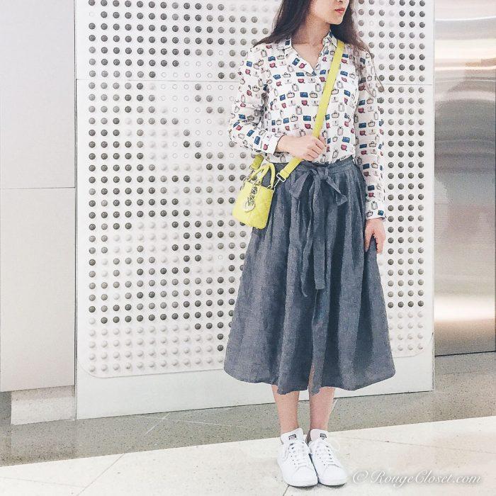 Lady Dior micro bag, Christian Dior, Dior, adidas by Raf Simons, agnes b. midi skirt, Doll Memories Bags Addict blouse, casual style, smart casual, street style