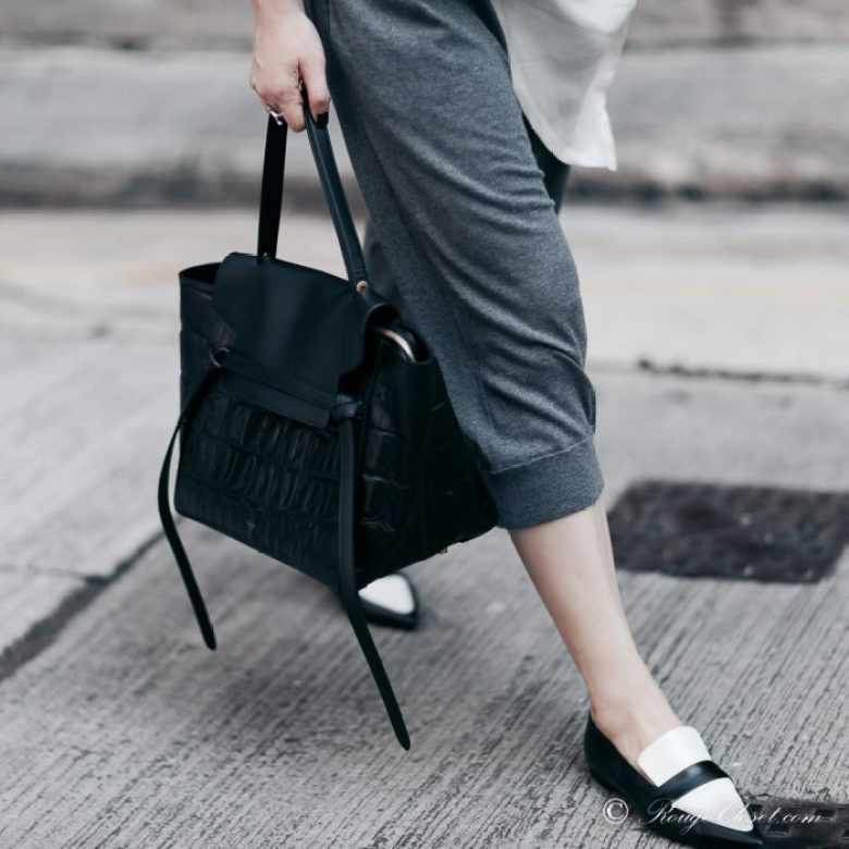 Acne Studios, Celine, Celine Belt bag, Celine Loafer, street style, grey culottes, personal style, monochrome, black and white