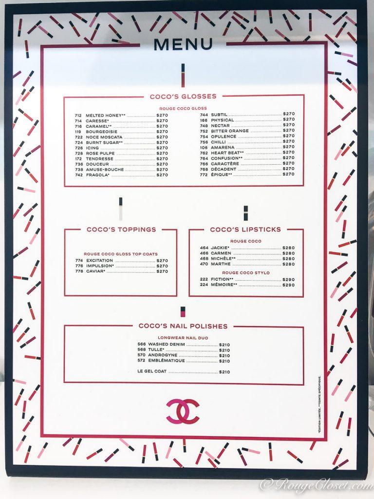 Chanel Menu - Price List