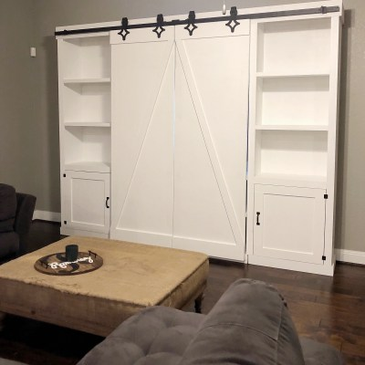 DIY Double Barn Door  Entertainment Center