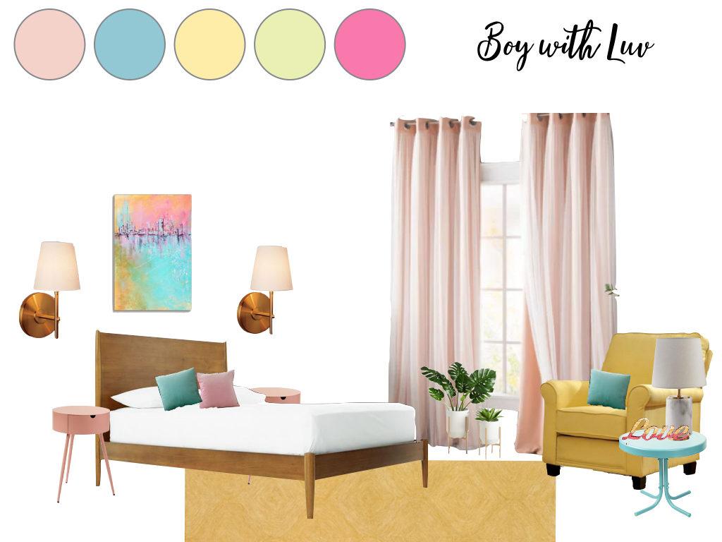 "Mood Board Monday: BTS Bedroom Design ""Boy with Love ... on Room Decor Bts id=62610"