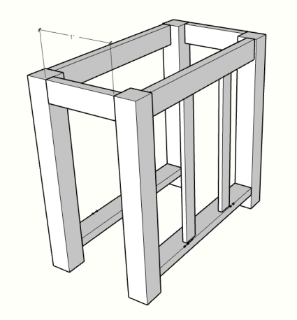 DIY kitchen island with drawer sketch up