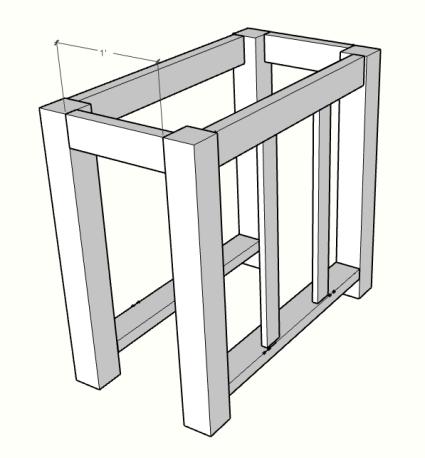 DIY kitchen island with drawer sketch up
