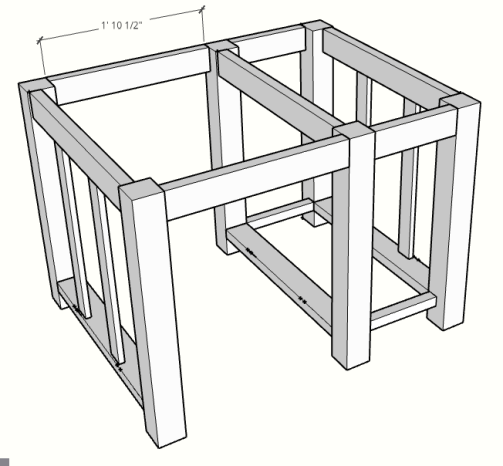DIY Kitchen island with a drawer sketch up