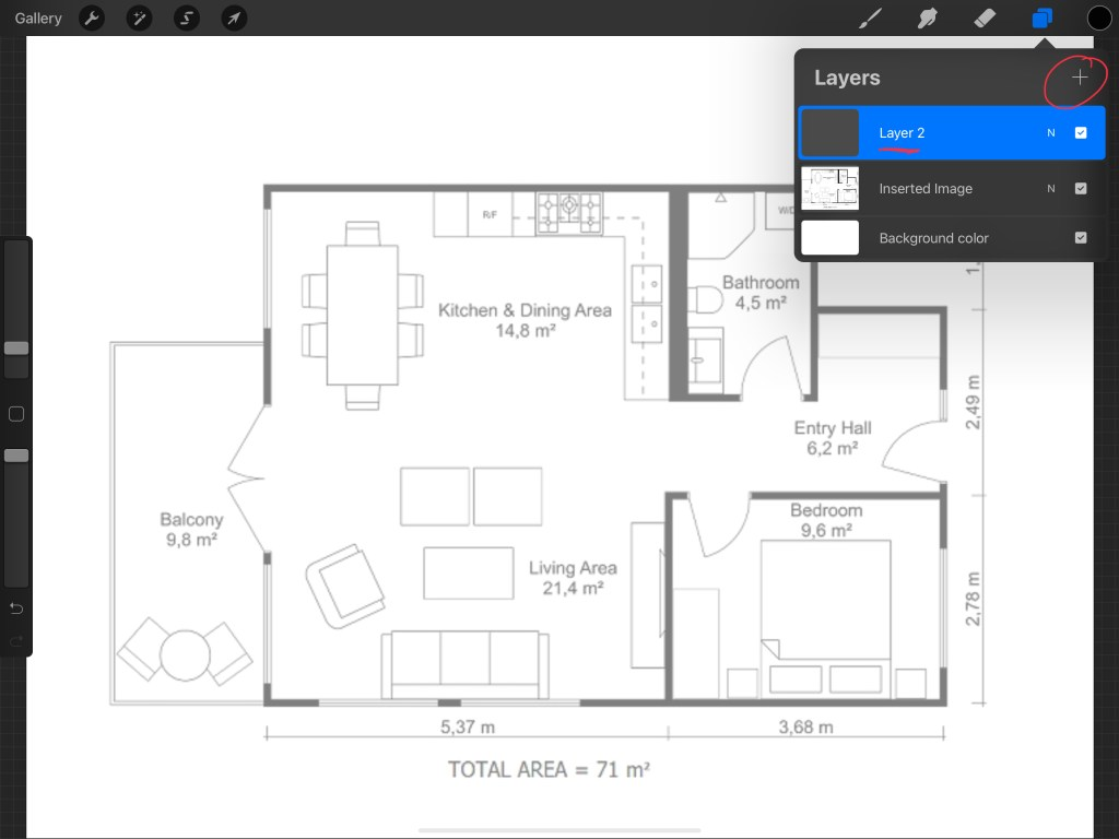 Adding a layer for the floor plan in procreate