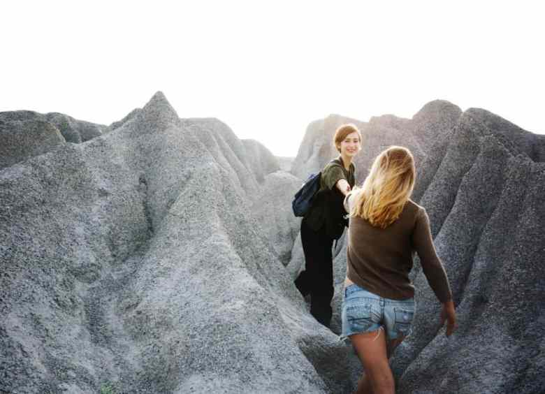 Two girls hiking