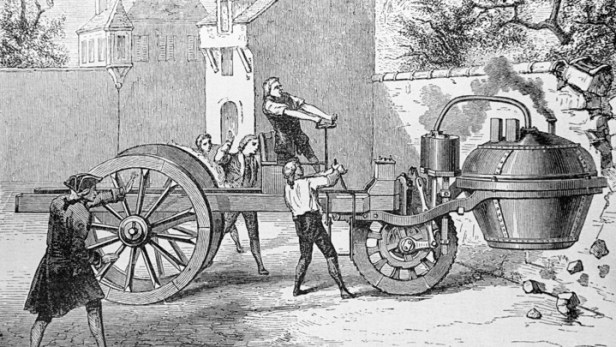 Steam Engine Crushing A Wall, 1770.