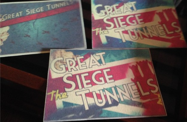 Postcards based on the Great Siege Tunnels in world war propaganda style